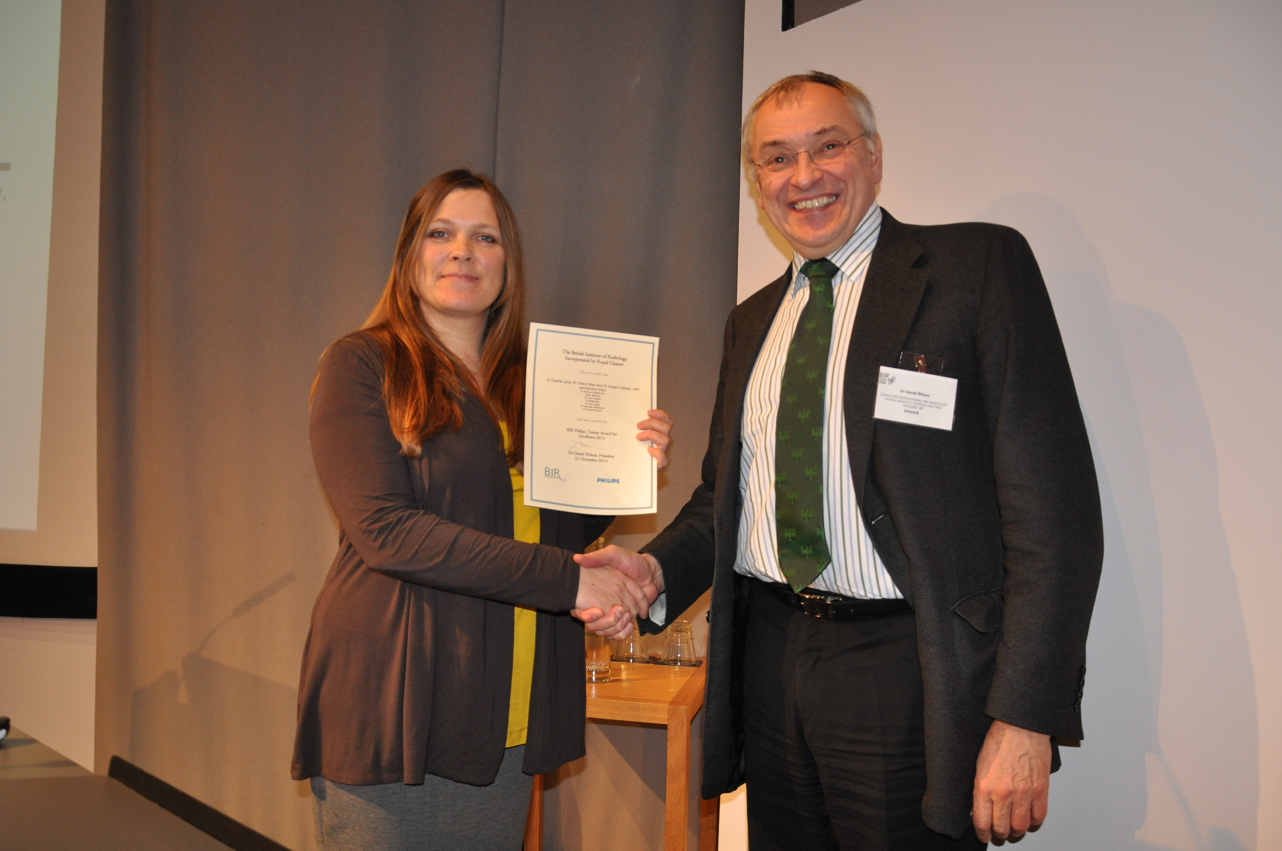 Philips Student Award winner 2013 Dr Cheryl Main with David Wilson